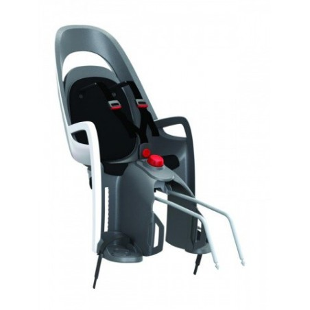 Fotelik rowerowy na ramę HAMAX Caress szaro-biały czarna wyściółka do ramy