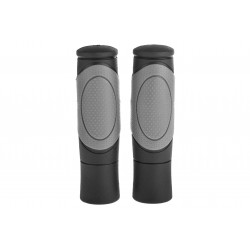 Chwyty gumowe 125mm profilowane czar/szare + korki