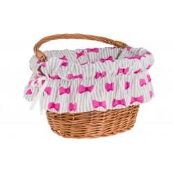 Wkładka do koszyka materiałowa, biało-szara paski w różowe kokardki POLSKA