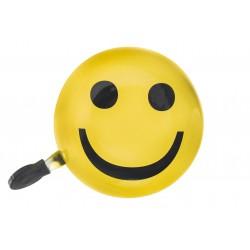 Dzwonek stalowy DING DONG duży żółty, uśmiech