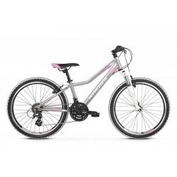 Rower 24 KROSS LEA JR 2.0  sreb-róż-bia mat