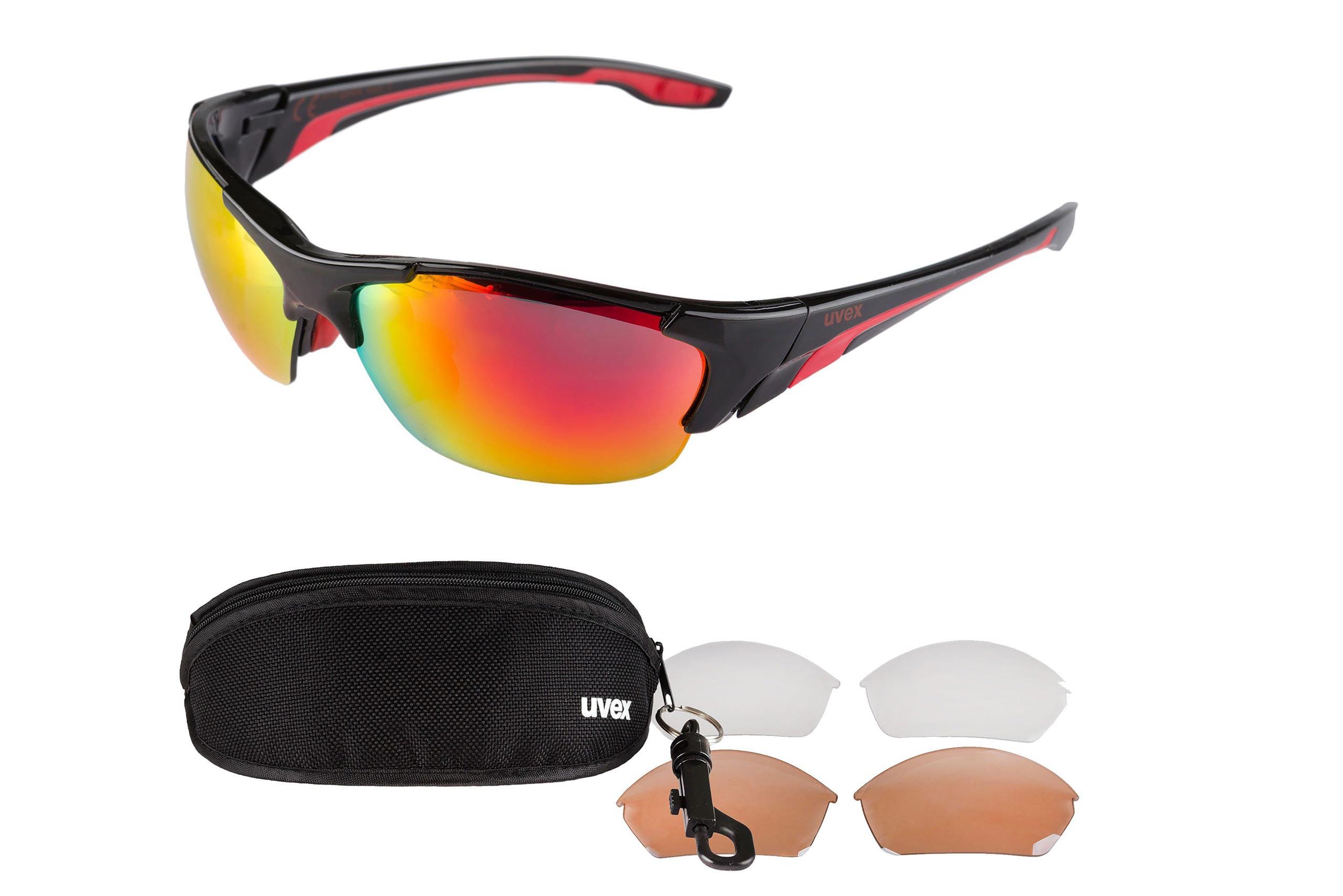 Okulary UVEX BLAZE III 3 pary soczewek - czarno-czerwone