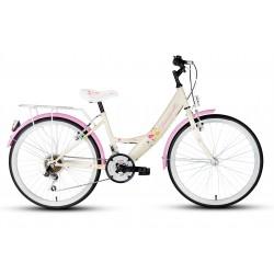 Rower 24 KANDS LAGUNA GIULIETTA kremowo-różowa mat