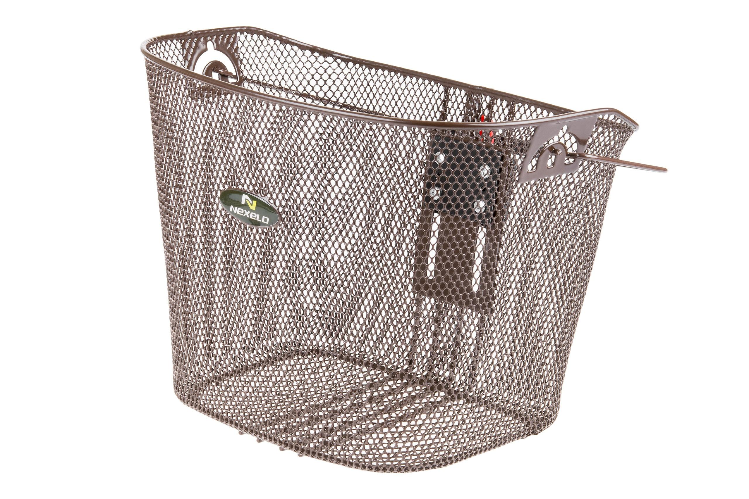 Koszyk na kierownicę zapin.+klip. mocowany na wspornik kierownicy brązowy