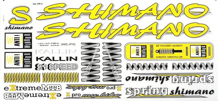 Naklejka KR4 - SHIMANO żółta zestaw