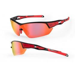 Okulary ACCENT Leopard czerwone lustrzane + soczewki + pokrowiec