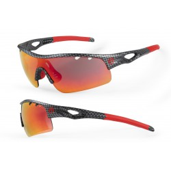 Okulary ACCENT Storm czarno-czerwone, fakt. karbonu, soczewki PC czerwone lustrzane + przezroczyste + etui