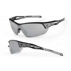 Okulary ACCENT Leopard czarno-szare, soczewki PC szare lustrzane + przezroczyste