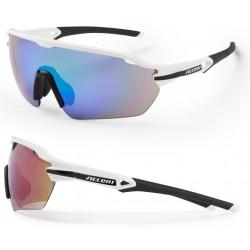 Okulary ACCENT Reflex biało-czarne, soczewki PC: niebiesko-zielone lustrzane, przezroczyste