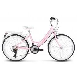 Rower 24 KANDS AMELKA alum. Tourney stożek biało-różowy mat
