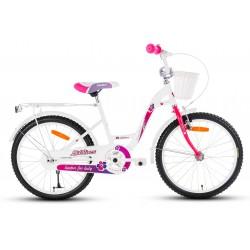 Rower 20 LIMBER GIRL stal. biało-różowy