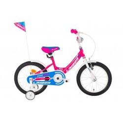 Rower 16 LIMBER GIRL stal. różowo-biało-niebieski