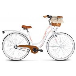 Rower 28 VELLBERG MyWay stal. 3 biegi NEXUS, biały mat + KOSZYK WIKLINOWY