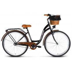 Rower 28 VELLBERG Damski 3-biegi czarny KOSZYK WIKLINOWY