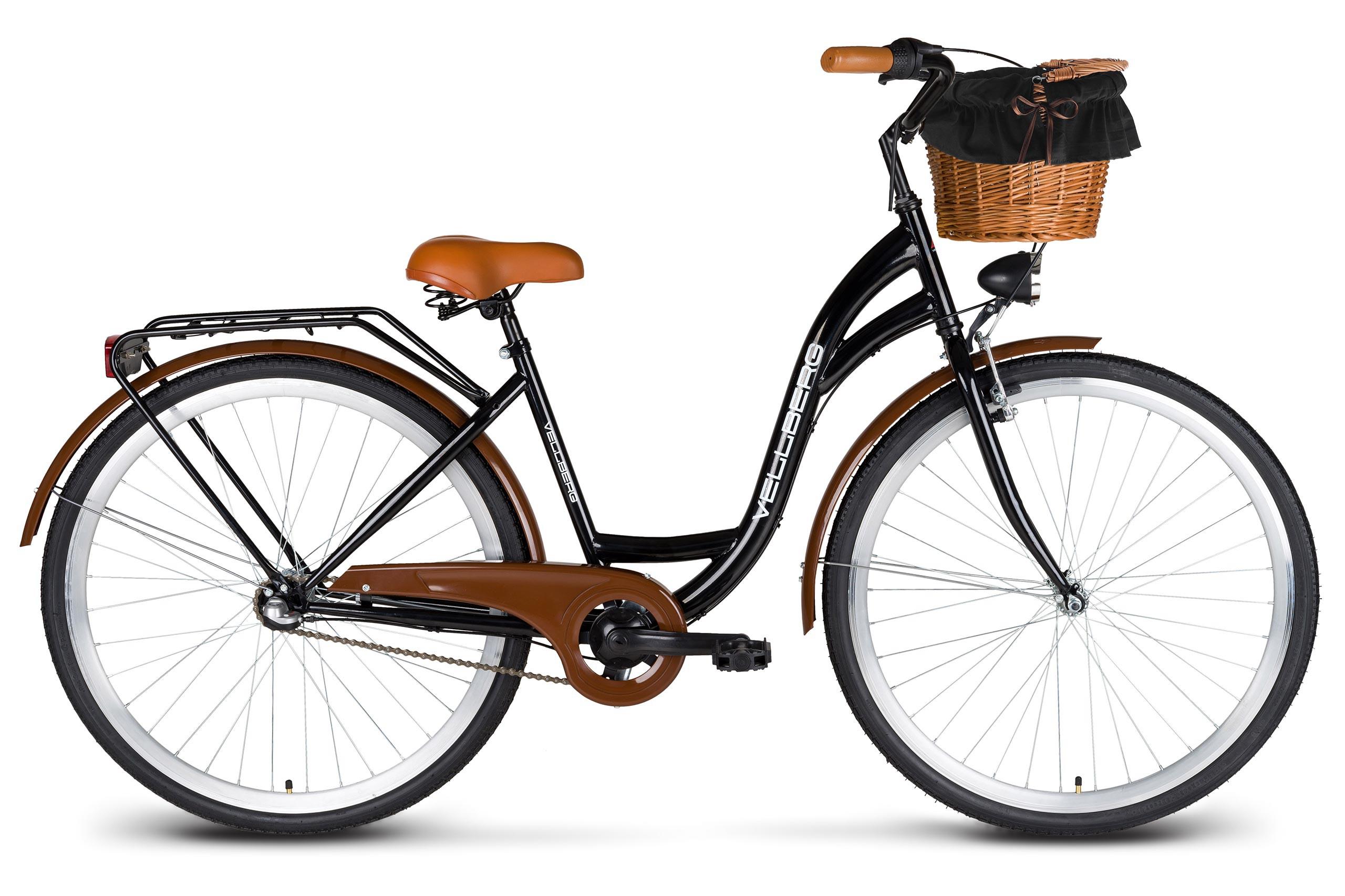 Rower 28 Vellberg Damski 3 Biegi Czarny Koszyk Wiklinowy Rowery M