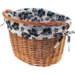 Wkładka do koszyka materiałowa, biała w czarne kwiaty