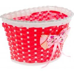 Koszyk na kierownicę dziecięcy plast. czerwono-biały z kokardą BK20