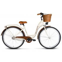 Rower 26 VELLBERG Madame NEXUS 3 biegi kremowy + brązy + KOSZYK WIKLINOWY