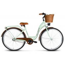 Rower 28 VELLBERG Madame NEXUS 3 biegi pistacja + brązy + KOSZYK WIKLINOWY