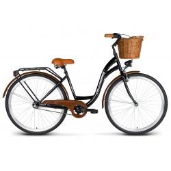Rower 26 VELLBERG Madame NEXUS 3 biegi czarny + czarny + KOSZYK WIKLINOWY