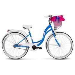 Rower 26 VELLBERG LAVENDER VELO, niebieski+biały  + koszyk