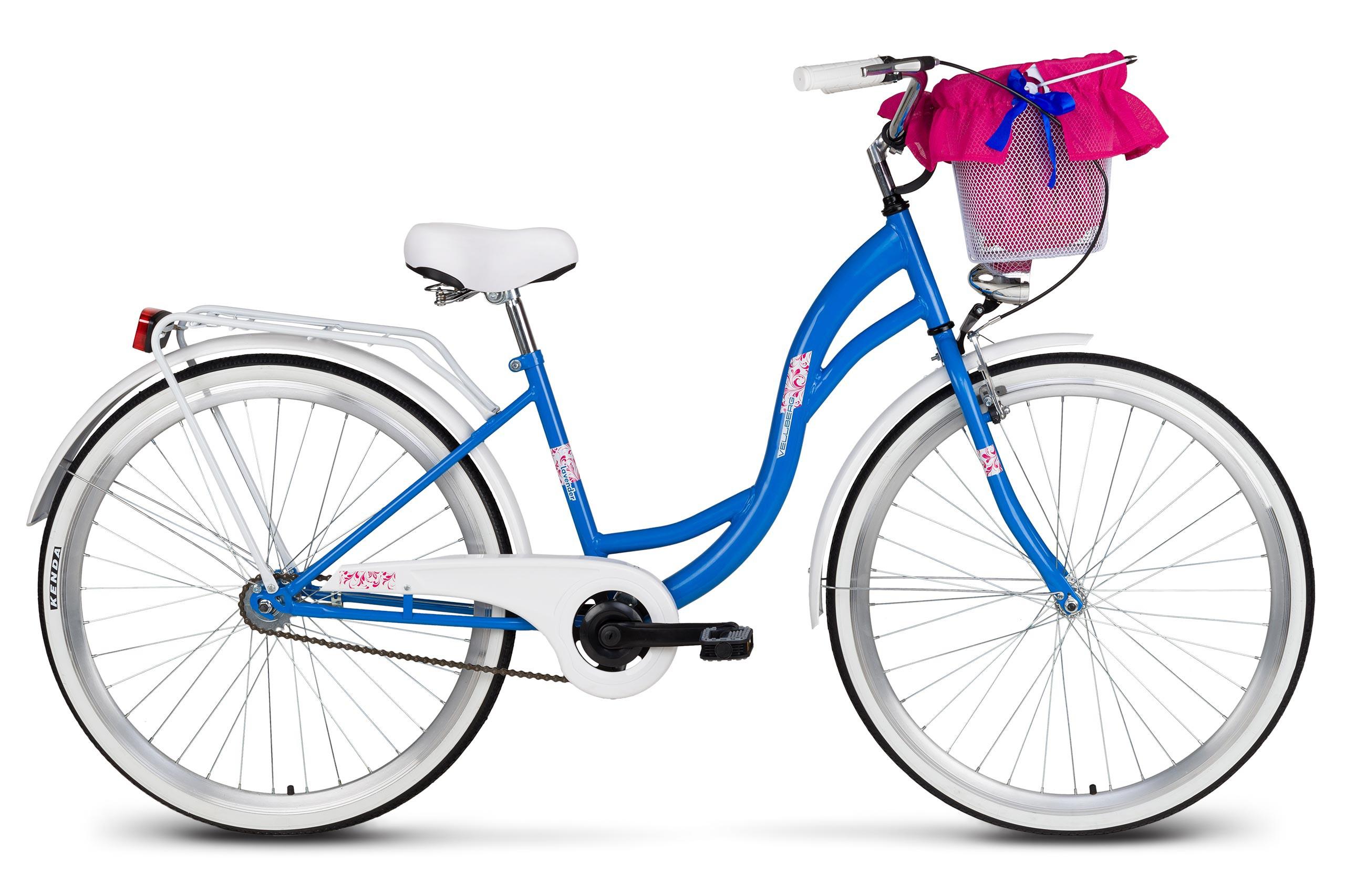 Rower 26 Vellberg Lavender Velo Niebieskibiały Koszyk