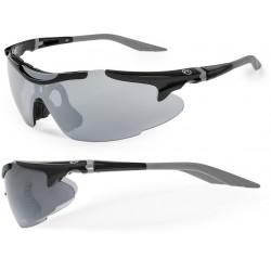 Okulary ACCENT VOYAGER czarno-grafitowe soczewki PC szare lustrzane,przezroczyste