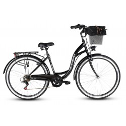 Rower 26 VELLBERG HAVANA stal. TY-300 7 bieg, czarny + koszyk