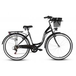 Rower 28 VELLBERG HAVANA stal. TY-300 7 bieg, czarny Koszyk