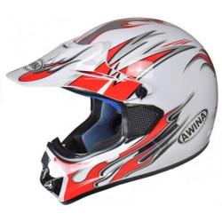 Kask moto.AWINA TN-8686-30 ENDURO biało-czerwony-graf XL