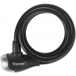 Zamknięcie spiralne na klucz TonyOn TY560 10x1200mm czarne