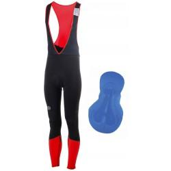 Spodnie ROGELLI IMPACT ocieplane z szelkami czarno-czerwone 2XL