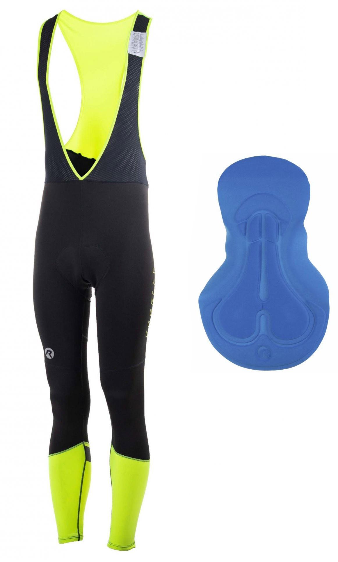 Spodnie ROGELLI IMPACT ocieplane z szelkami czarno-fluor 2XL