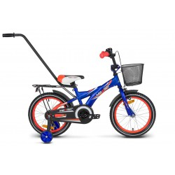 Rower 16 MEXLLER BMX niebiesko-pomarańczowy mat + koszyk 17r
