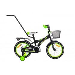 Rower 16 MEXLLER BMX czarno-zielony mat + koszyk 17r.