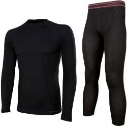 Bielizna termoaktywna BRUBECK ACTIVE WOOL komplet koszulka+spodnie czarny L (LS12820+LE11710)