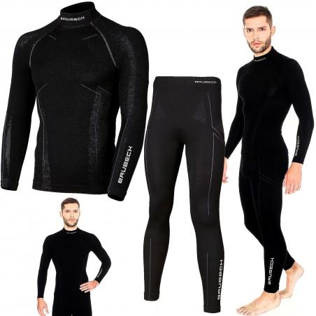 Bielizna termoaktywna BRUBECK EXTREME WOOL komplet MĘSKI koszulka+spodnie czarny XL (LS11920+LE11120)