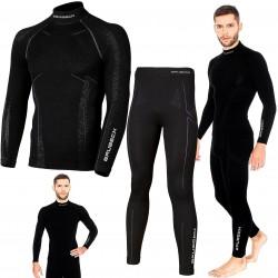 Bielizna termoaktywna BRUBECK EXTREME WOOL komplet MĘSKI koszulka+spodnie czarny M (LS11920+LE11120)