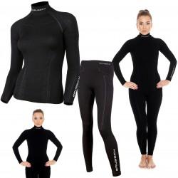 Bielizna termoaktywna BRUBECK EXTREME WOOL komplet DAMSKI koszulka+spodnie czarny M (LS11920+LE11130)