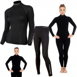 Bielizna termoaktywna BRUBECK EXTREME WOOL komplet DAMSKI koszulka+spodnie czarny L (LS11920+LE11130)