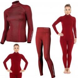 Bielizna termoaktywna BRUBECK EXTREME WOOL komplet DAMSKI koszulka+spodnie bordowy M (LS11920+LE11130)