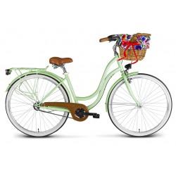 Rower 28 VELLBERG MyWay stal. 3 biegi NEXUS, miętowy mat + KOSZYK WIKLINOWY