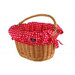 Wkładka do koszyka bawełniana , biało-czerw. kratka