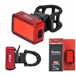 Lampa tylna /akumulator/ PROX ADARA COB LED 30lm USB alum. czerwona na sztycę