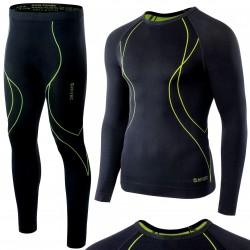 Bielizna termoaktywna HI-TEC IKAR SET męska L czarno-lime (spodnie+koszulka)