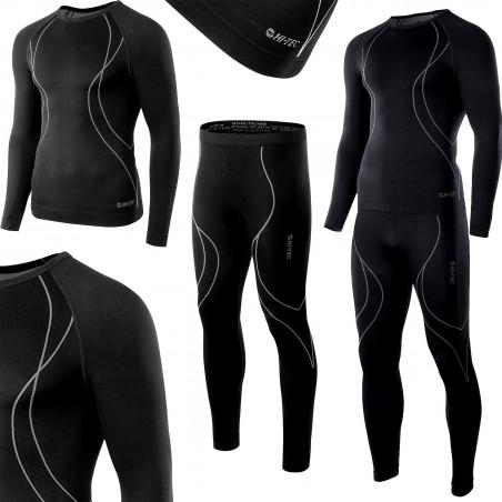 Bielizna termoaktywna HI-TEC IKAR SET męska M czarno-szara (spodnie+koszulka)