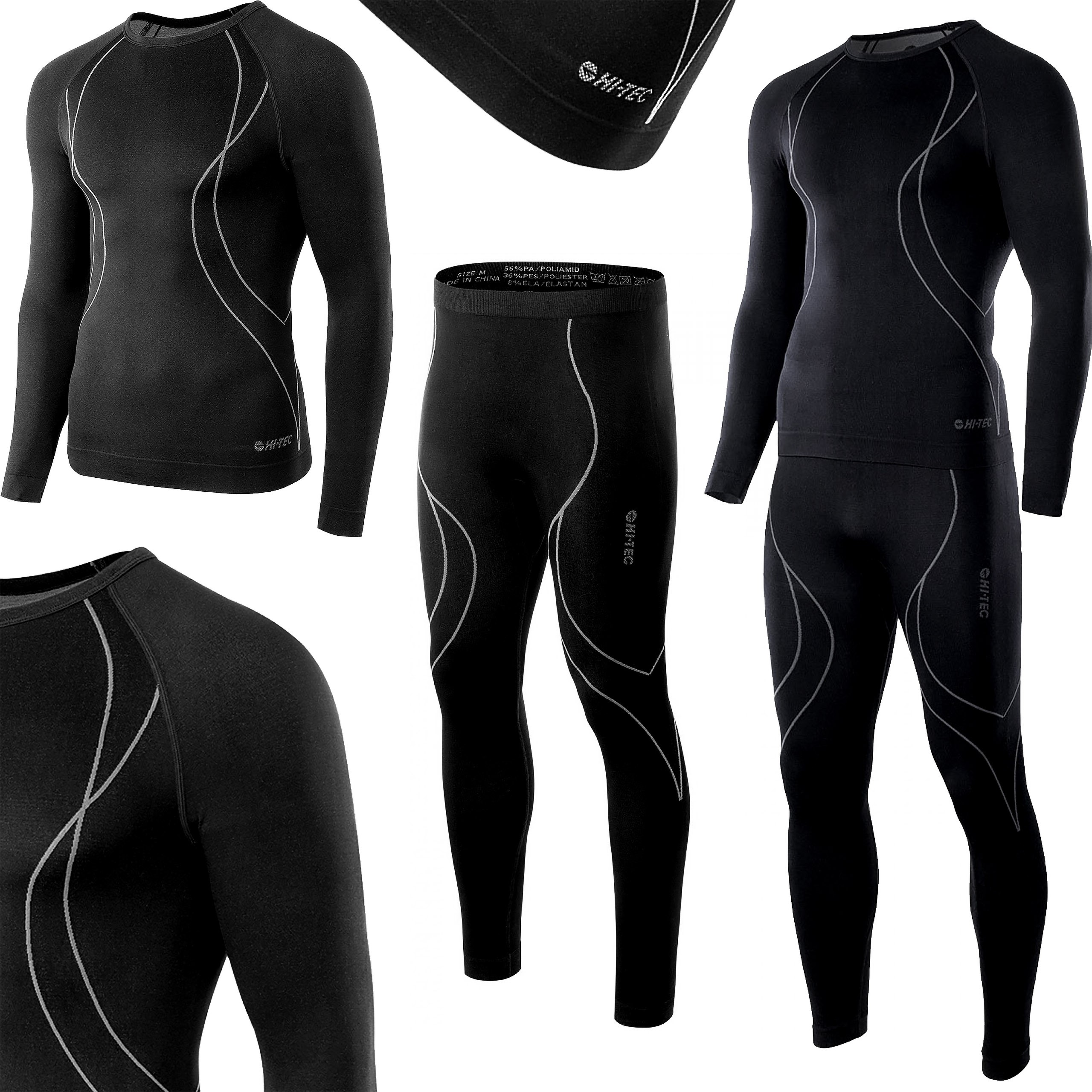 Bielizna termoaktywna HI-TEC IKAR SET męska XL czarno-szara (spodnie+koszulka)