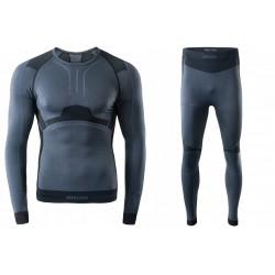 Bielizna termoaktywna BRUGI męska 4RAS+4RAR L/XL czar-szar M31 (spodnie+koszulka)
