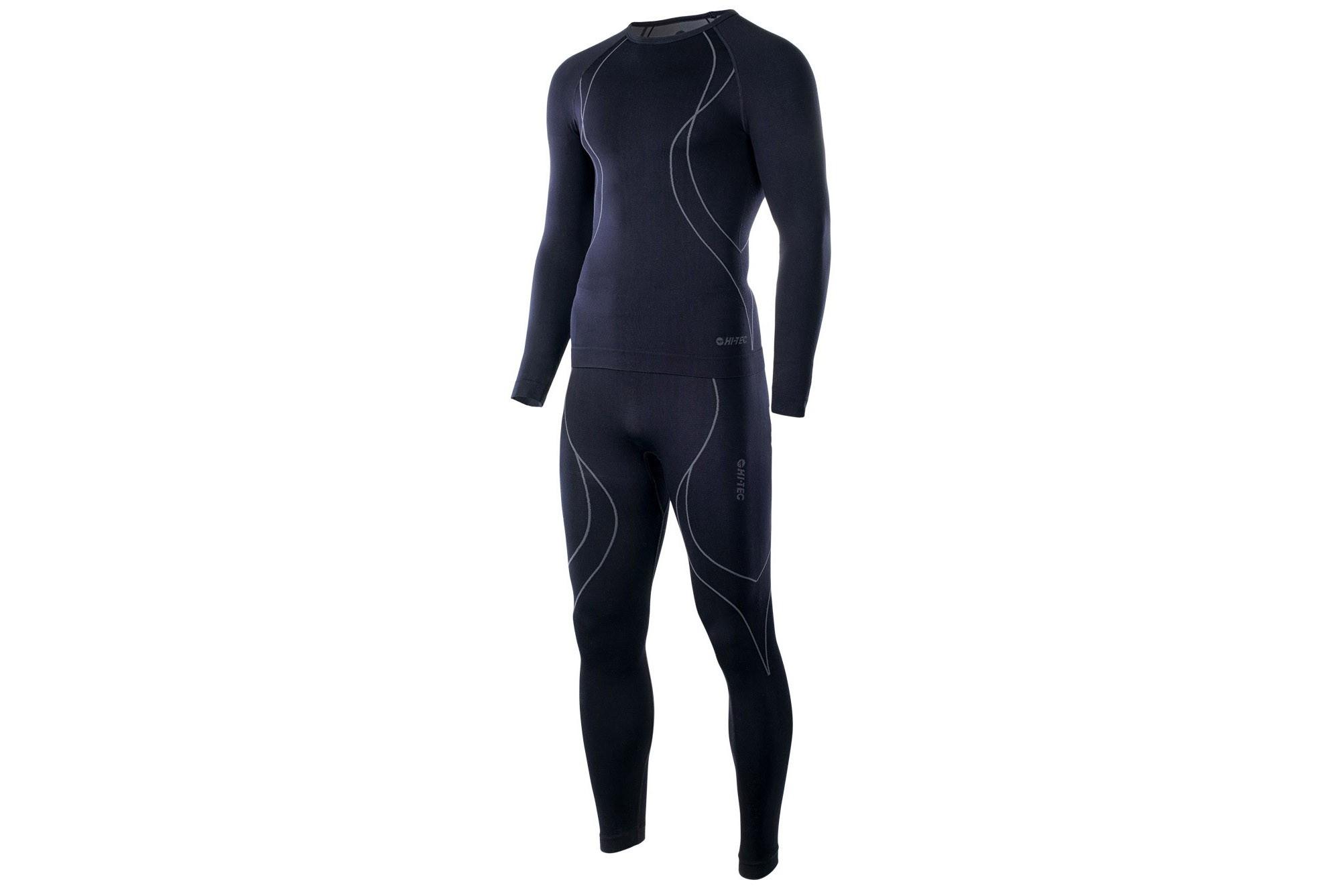Bielizna termoaktywna HI-TEC IKAR SET męska XXL czarno-szara (spodnie+koszulka)