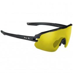Okulary rowerowe KELLYS CYCLONE HF, Ink Black, szkło żółte + przydymiane + etui